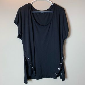 Lane Bryant Black Tee with Grommets at Split Sides
